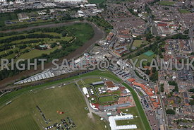 Chester high level aerial view of area of Tower garden and Tower Road and remains of old city walls defence tower