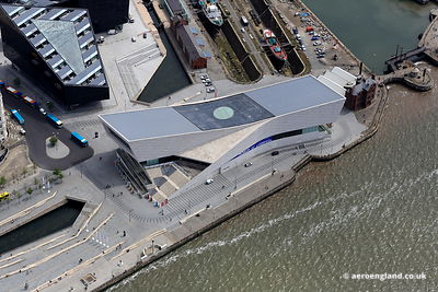 aerial photograph of the Museum of Liverpool Merseyside England UK