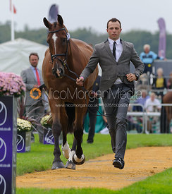 Harry Dzenis and DROMGURRIHY BLUE - The first vets inspection (trot up),  Land Rover Burghley Horse Trials, 3rd September 2014.