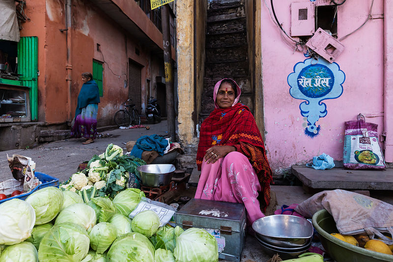Woman Selling Vegetables at the Choti Chopad Wholesale Vegetable Market