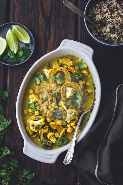 Roasted delicata squash curry with chickpeas and cauliflower.