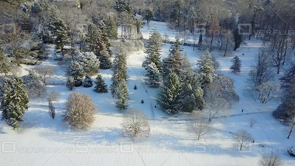An aerial view of the Marquand Park Arboretum after a snowy day in Princeton NJ USA