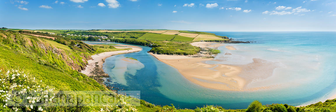 Panoramic view of Bantham beach, South Hams, Devon (BP5350)
