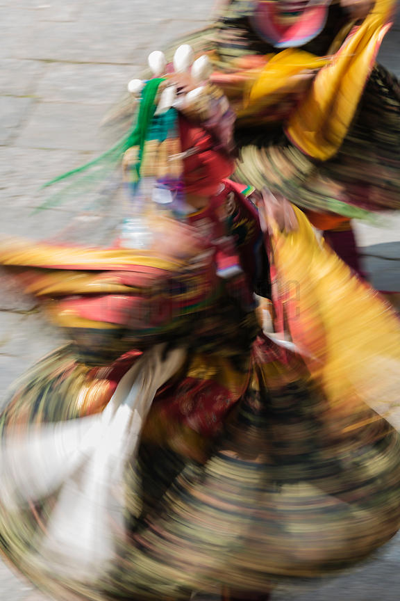 Motion Blur of Performers at the Trongsa Domche