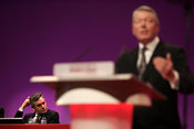 Former Prime Minister Gordon Brown scratching his head at 2008 Labour Party conference