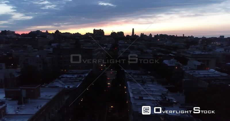 Drone Video Harlem New York City at Night