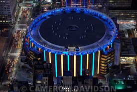 Aerial of Madison Square Garden at night