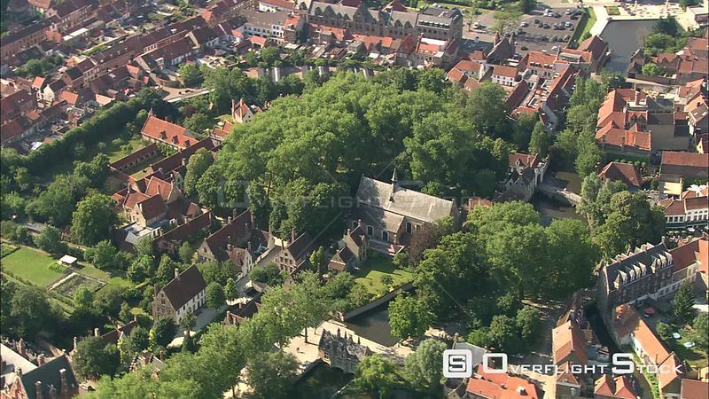 Orbiting a residential area in Bruges, Belgium