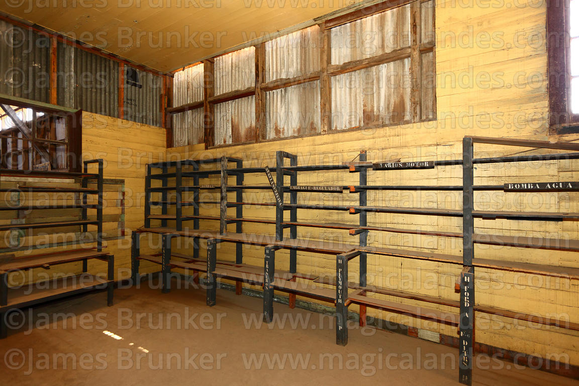 Storeroom for spare machine parts in abandoned nitrate mining town of Humberstone, Region I, Chile