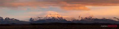 Vatnajokull mountain range at sunset Iceland
