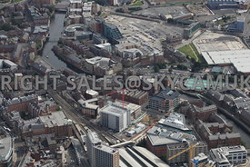 Leeds aerial photograph looking across Sovereign Street developments towards Hunslet Road and the old Tetely Brewery and Crow...