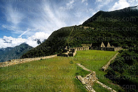 View of main plaza of Inca site of Choquequirao, Peru
