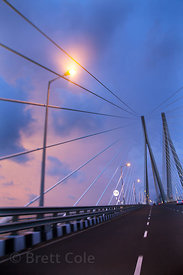Dusk on the Bandra-Worli Sealink bridge in Mumbai, India.