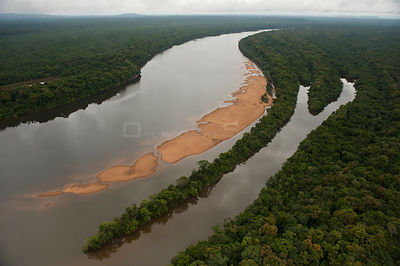 Aerial view of Essequibo River and rainforest, Iwokrama Reserve, Guyana, December 2009