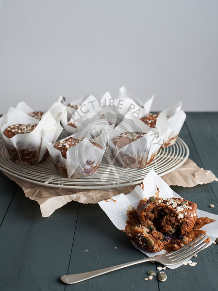 Blueberry Breakfast Muffins on Wire Rack
