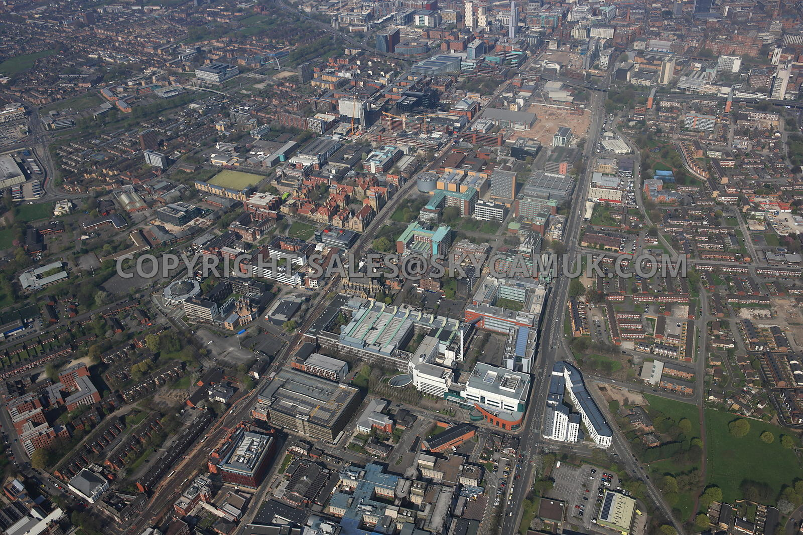 Manchester high level view of the University of Manchester and Manchester Metropolitan University Campus and the Manchester S...