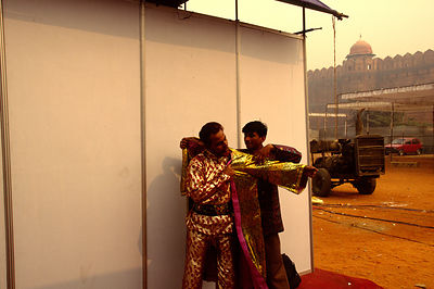 India - New Delhi - Judduchkra Iqbal dresses for a show behind the Red Fort