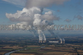 Yorkshire aerial photograph of the Three Power Stations Drax's Eggborough and Ferrybridge Stations with white plumes against ...