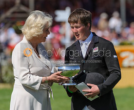 Tom McEwen receives his prizes from the Duchess of Cornwall - show jumping phase,  Mitsubishi Motors Badminton Horse Trials, 6th May 2013.
