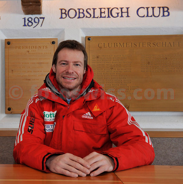Skeleton Rider Gregor Staehli at Bob Club House in Saint St. Moritz