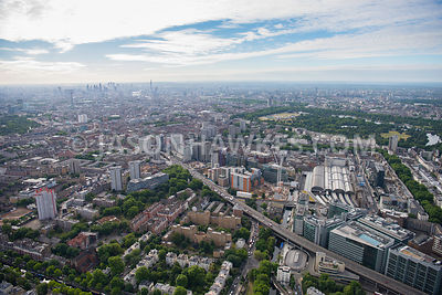 Aerial view of London, Westway and Harrow Road at Paddington.