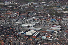 Bury aerial photograph looking across from Heywood Street towards the Town Centre and the Mill Gate Shopping Centre