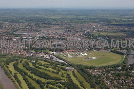Chester high level aerial view looking from Chester golf Course towards Chester Race Course and Chester city centre towards t...