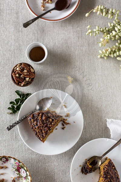 Pumpkin Coffee Cake with Cocoa Vanilla Glaze