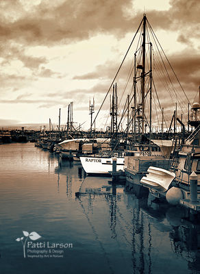 Boats in Seattle Harbor – Sepia