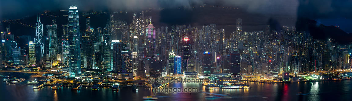 Hong Kong skyline as seen from Sky100 viewing gallery