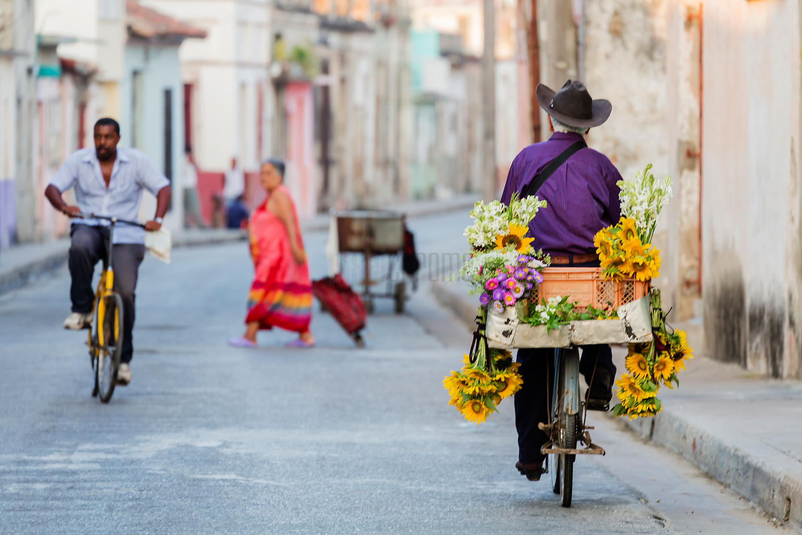 Flower Seller Leaving  His Bike for Work