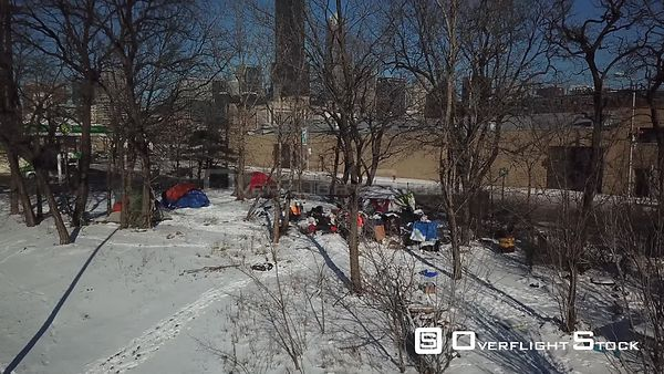 Homeless Tent Camp on Chicago Park.