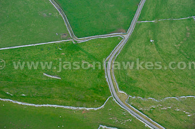Aerial view of roads through fields in Derbyshire