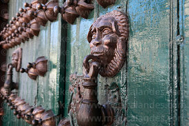 Detail of lion head door knocker on main entrance of Casa de la Moneda / Royal Mint, Potosí, Bolivia