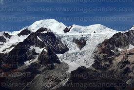 View of glaciers of Mt Ancohuma from La Cumbre, Cordillera Real, Bolivia