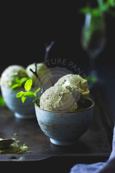 Matcha mint choc chip ice cream