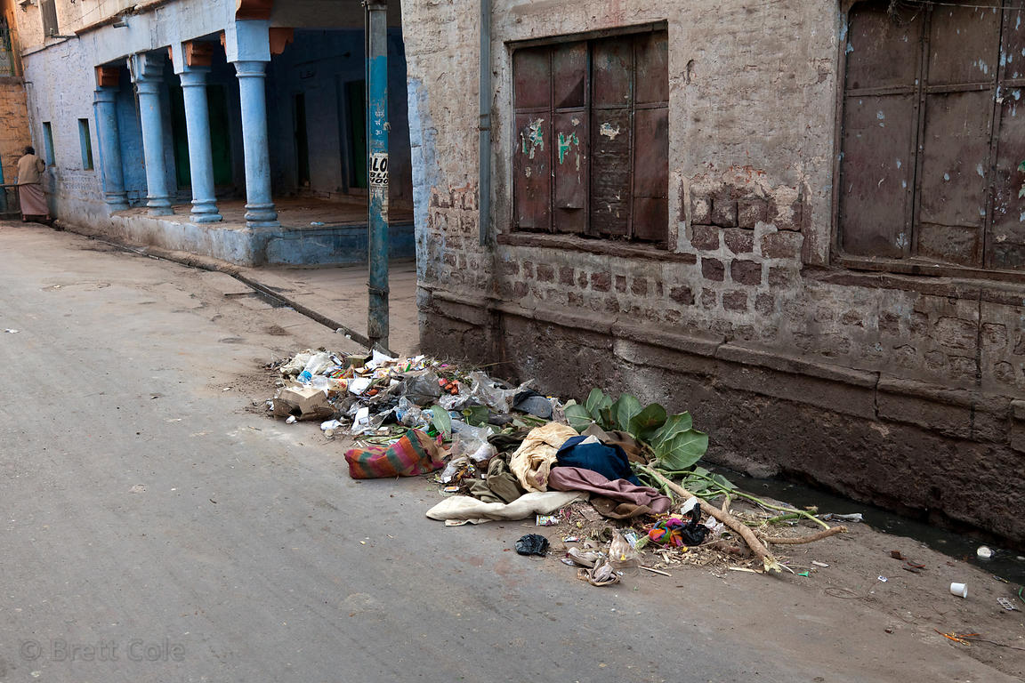 Garbage swept into a pile in the early morning in Jodhpur, Rajasthan, India