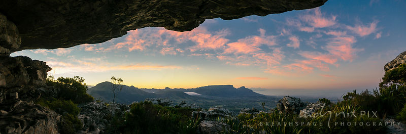 Fat Lady Cave on Steenberg Peak with view of Table Mountain