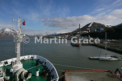 Adventfjorden, Nordenskiold Land, Spitsbergen, Svalbard with view of Longyearbyen harbour, from Akademic Sergey Vavilov