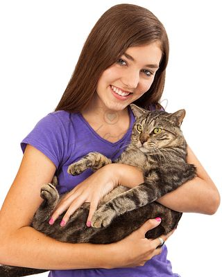 Teenager With Cat Closeup