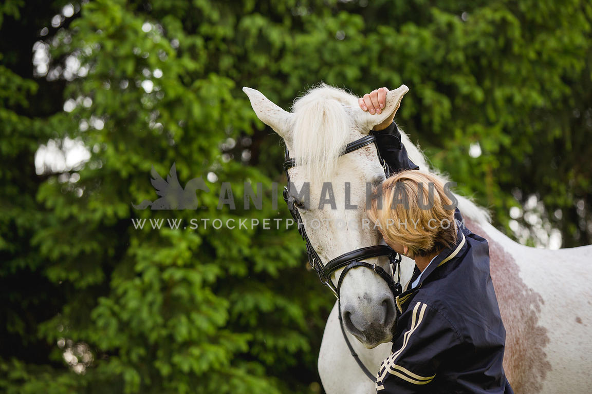 white horse and owner hugging