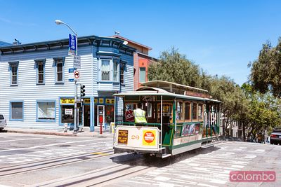 Iconic cable car of San Francisco, California, USA