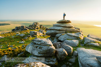 Hiker on Rough Tor, Bodmin Moor - BP6094