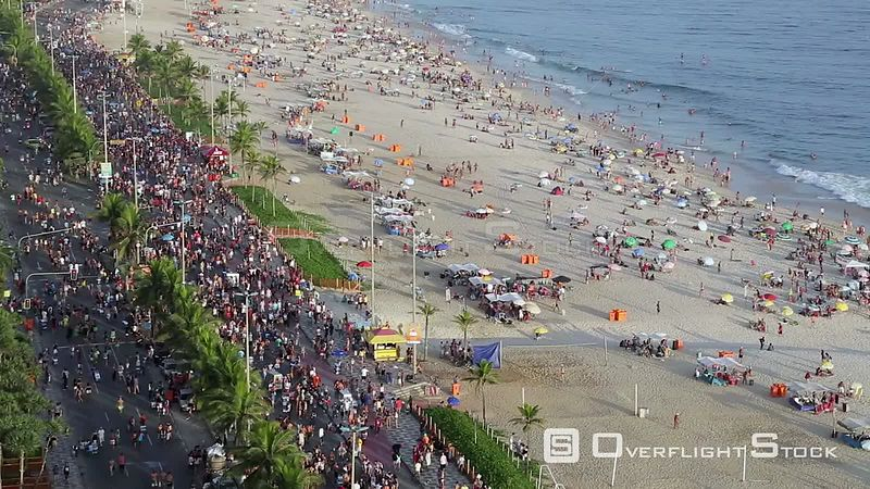 Wide angle shot of Ipanema Beach and street carnival, Rio de Janeiro, Brazil, September 2016.