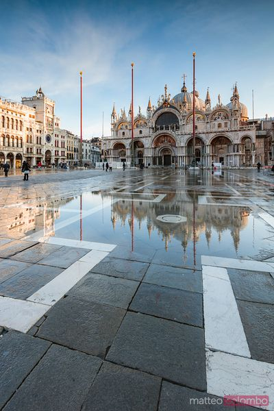 St Mark's square flooded by acqua alta, Venice, Italy