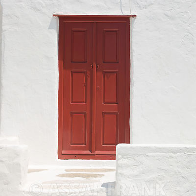 Church door, Mykonos, Cyclades Islands, Greece