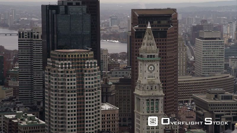 Orbiting Downtown Boston High-rises  Custom House Tower in Foreground. Shot in November