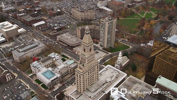 Orbiting Travelers Tower in Downtown Hartford, Connecticut  Center Church and Gold-colored One Financial Plaza Nearby. Shot i...