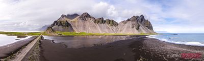 Aerial drone view of Vestrahorn, Stokksnes, Iceland