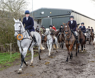 Harriet Walker leaving the meet. The Cottesmore Hunt at Launde Park Farm